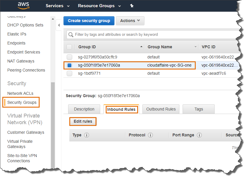 Create A Custom VPC Security Group
