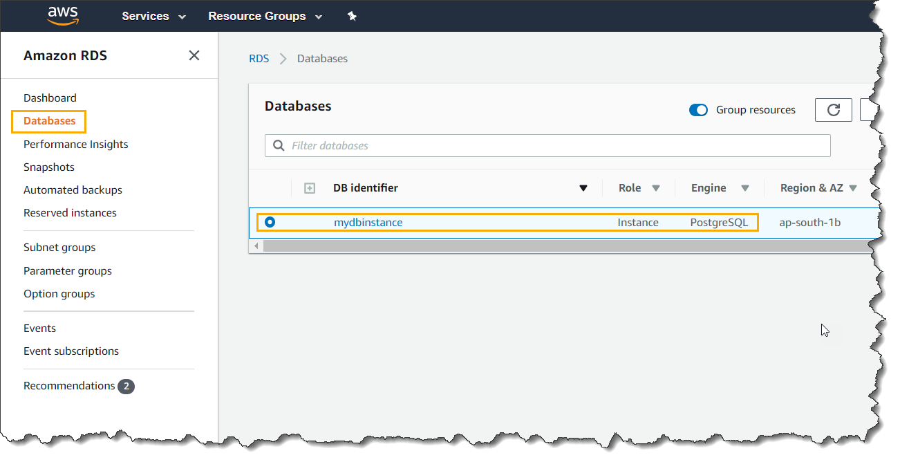 AWS RDS Instance Logs