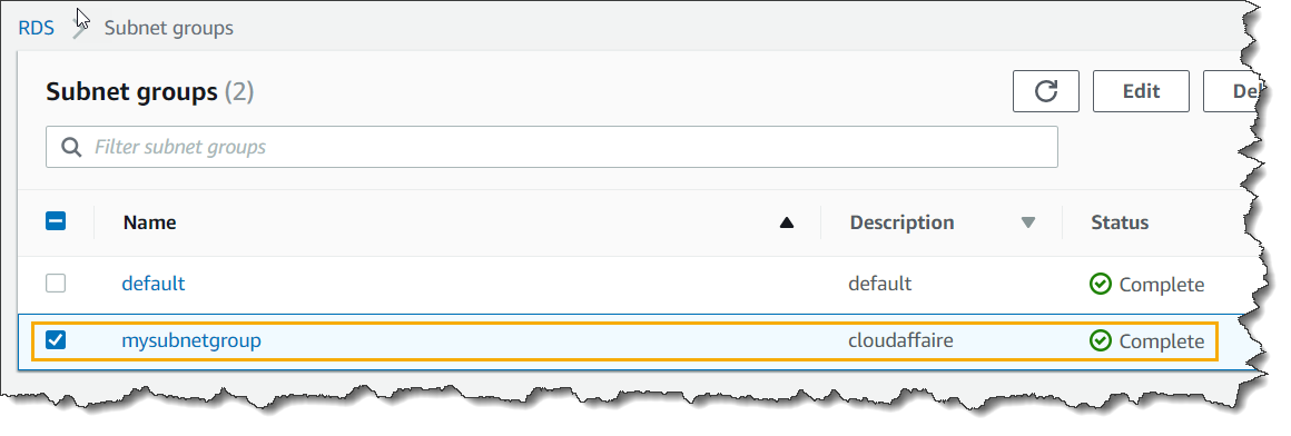 AWS RDS Instance Subnet Groups